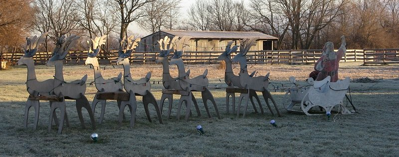 click for bigger photo - Outdoor Wooden Reindeer Christmas Decorations