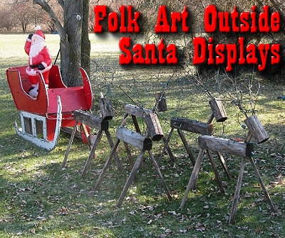 folk art outdoor santa displays a common site in the 1960s and 70s