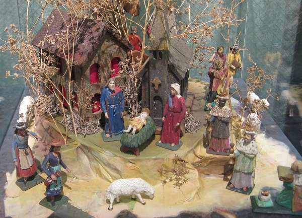 A brief history of christmas villages from family christmas online this mid 19th century czech nativity is typical of hand carved nativites from much solutioingenieria Images