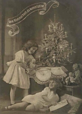 This old German postcard shows children playing happily near a Christmas tree with burning candles.  They seem to be playing with their Christmas gifts, so, if the tree was first set up on Christmas eve, it  is 'fresh' and relatively safe.  Click for bigger photo.